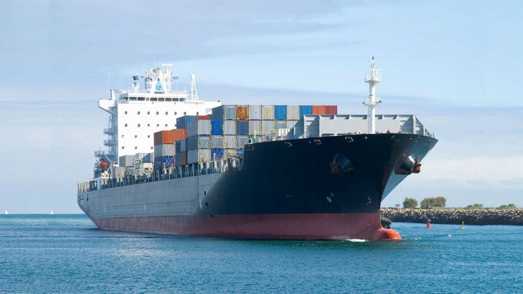 container ship at sea.